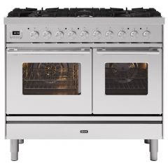 Ilve PD106WE3/SS Stainless Steel Roma 100Cm Twin 60 / 40 6 Gas Burners Stainless Steel
