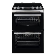 Zanussi ZCI66288XA 60cm Electric Double Oven with Induction Hob - Black and Stainless Steel