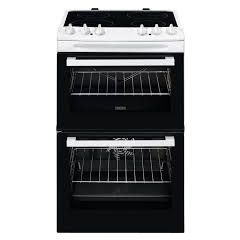 Zanussi ZCV46050WA White And Black 55Cm Electric Double Oven With Ceramic Hob - White - A/A Rated