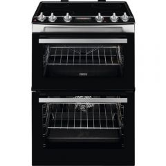 Zanussi ZCV66078XA Black Stainless 60Cm Electric Double Oven With Ceramic Hob - Stainless Steel - A/