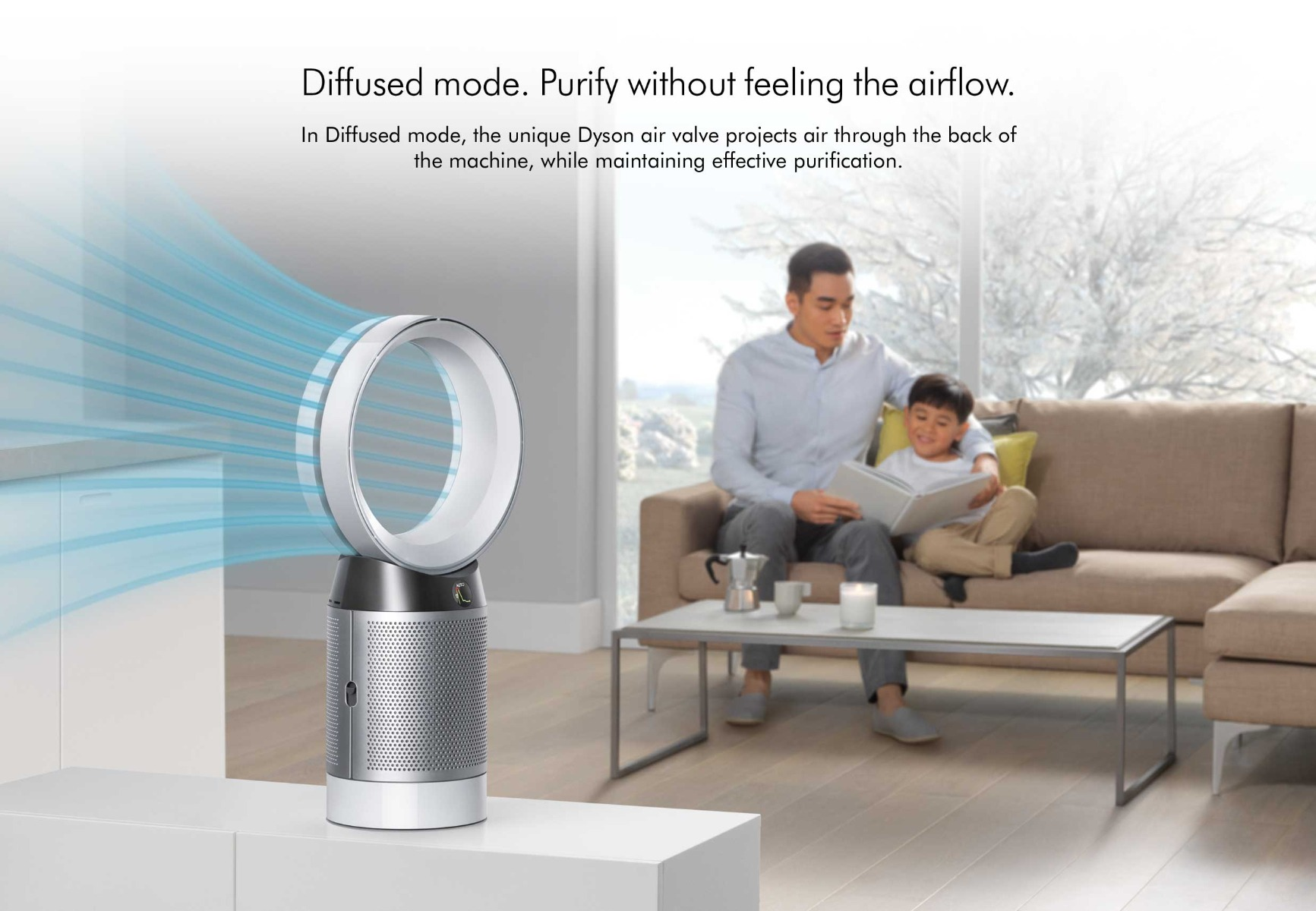 diffused mode, purify without feeling the airflow